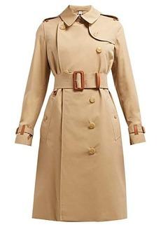Burberry Leather trim cotton-gabardine trench coat