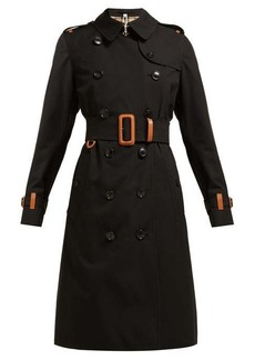 Burberry Leather-trimmed cotton-gabardine trench coat
