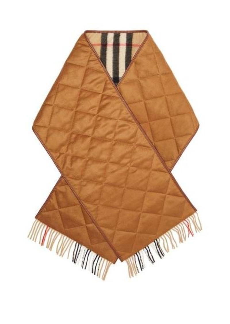 Burberry Vintage-check leather-trimmed cashmere scarf