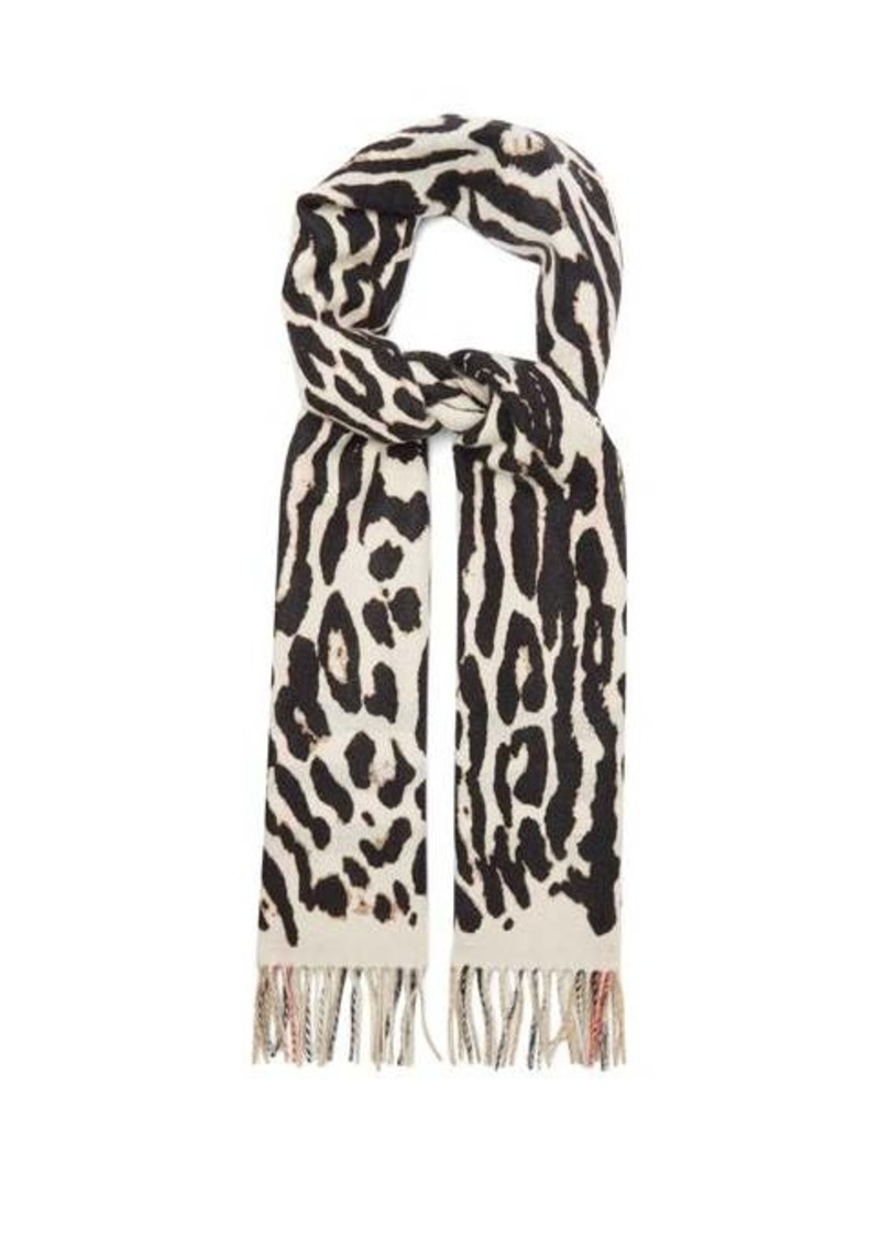 Burberry Leopard and Icon check cashmere scarf