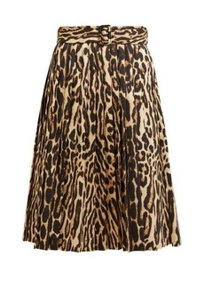 Burberry Leopard-print pleated silk-blend skirt