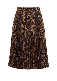 Burberry Leopard-print pleated skirt