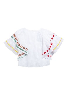 Burberry Lily Ruffle-Trim Embroidered Top  Size 4-14