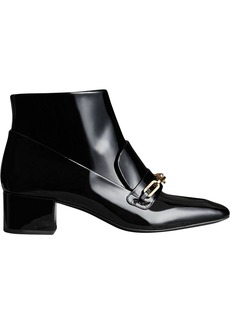Burberry Link Detail Patent Leather Ankle Boots - Black