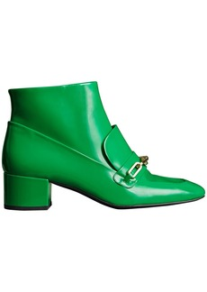 Burberry Link Detail Patent Leather Ankle Boots - Green