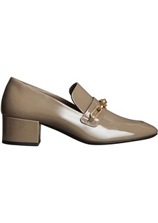 Burberry Link Detail Patent Leather Block-heel Loafers - Grey