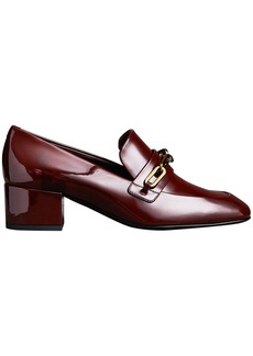 Burberry Link Detail Patent Leather Block-heel Loafers - Red