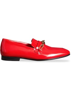 Burberry Link Detail Patent Leather Loafers - Red
