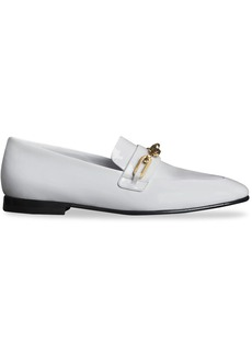 Burberry Link Detail Patent Leather Loafers - White