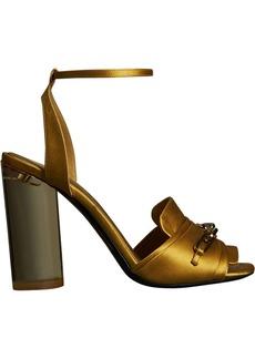 Burberry Link Detail Perspex Heel Satin Sandals - Yellow & Orange