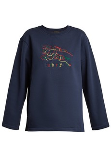 Burberry Logo-embroidered cotton-blend jersey sweatshirt
