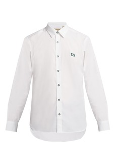 Burberry Logo-embroidered cotton-blend poplin shirt