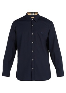Burberry Logo-embroidered cotton-blend shirt