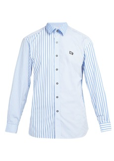 Burberry Logo-embroidered striped cotton shirt