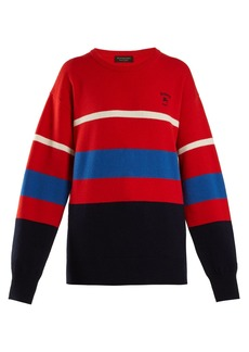 Burberry Logo-embroidered striped wool sweater