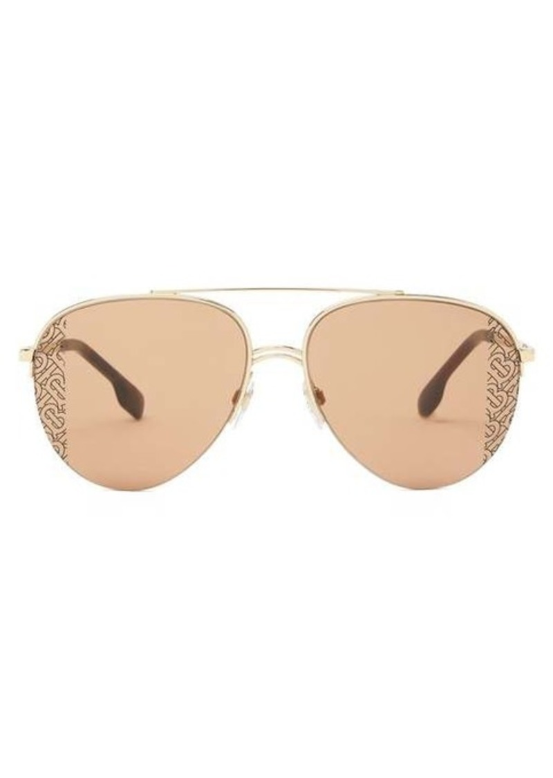 Burberry Logo-print aviator metal sunglasses