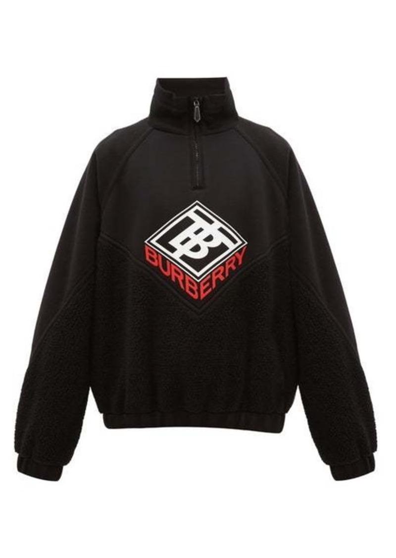 Burberry Logo-print fleece and neoprene sweatshirt