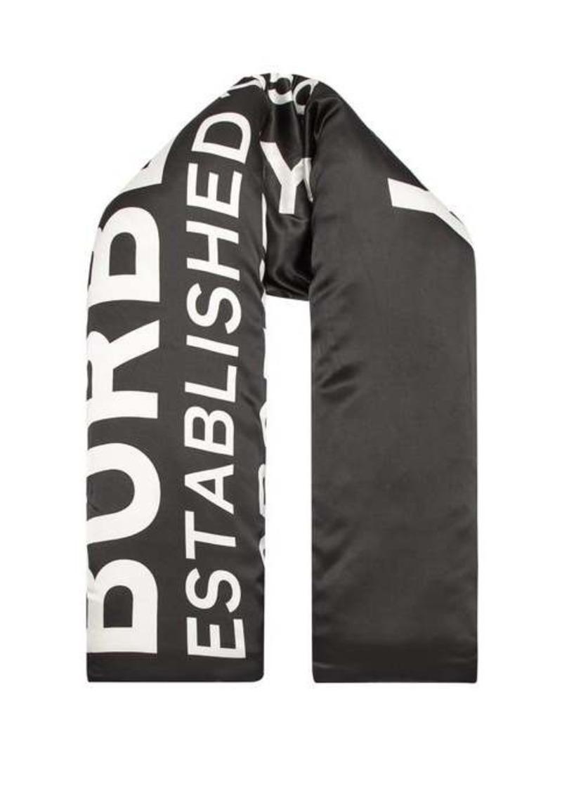 Burberry Logo-print padded silk-charmeuse scarf