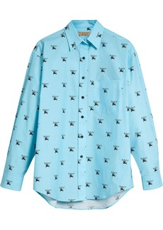 Burberry Logo Print Stretch Cotton Shirt - Blue