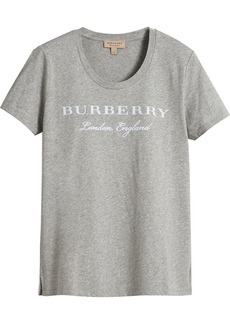 Burberry Printed Cotton T-shirt - Grey