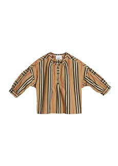 Burberry Lola Icon Stripe Check-Trim Blouse  Size 3-14