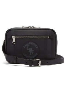 Burberry London-check logo-print leather cross-body bag