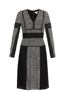 Burberry London Lace and leopard-print panelled silk dress