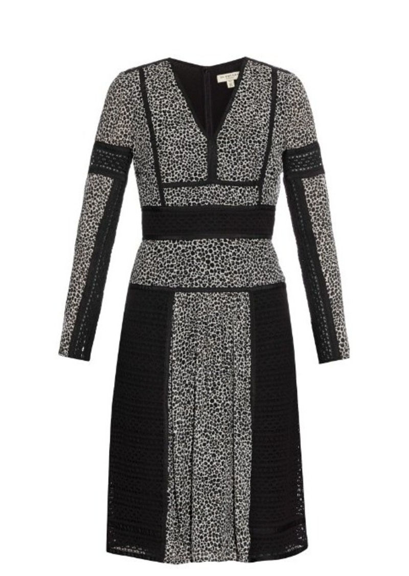 Burberry Burberry London Lace and leopard-print panelled silk dress ...