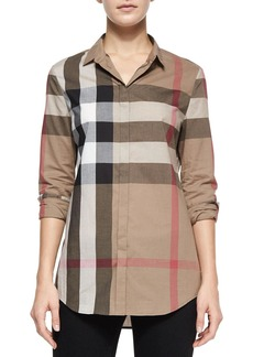 Burberry Long-Sleeve Button-Front Check Shirt
