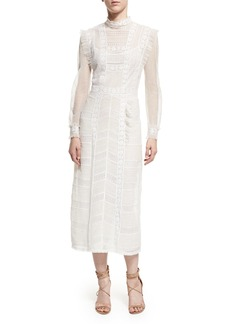 Burberry Long-Sleeve Lace Mesh Dress