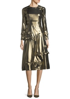 Burberry Long-Sleeve Metallic Ruffle-Trim Dress