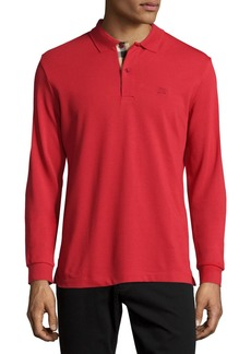 Burberry Long-Sleeve Oxford Polo Shirt