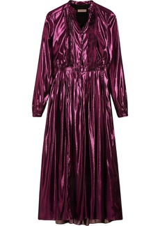 Burberry long-sleeve pintuck lamé dress - Pink & Purple