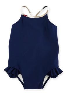 Burberry Lundy Ruffle-Trim Cross-Back Swimsuit