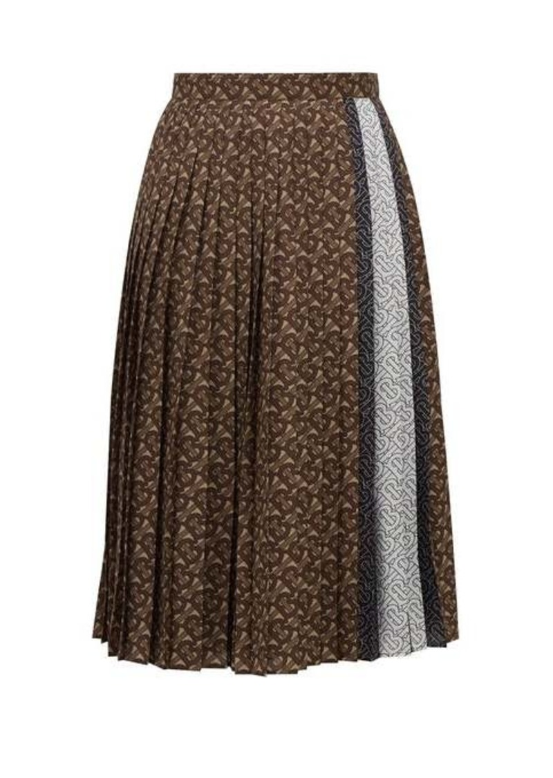 Burberry Marine TB-print pleated crepe midi skirt
