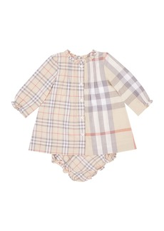 Burberry Marissa Mixed Check Long-Sleeve Dress w/ Bloomers  Size 3-18 Months