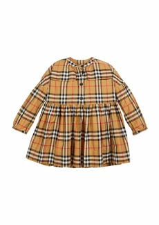 Burberry Marny Check Puff-Sleeve Dress  Size 4-14