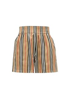Burberry Marsett Icon-striped silk shorts