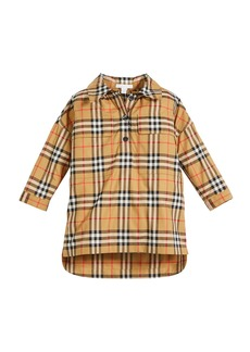 Burberry Mary Alice Check Long-Sleeve Dress  Size 4-14