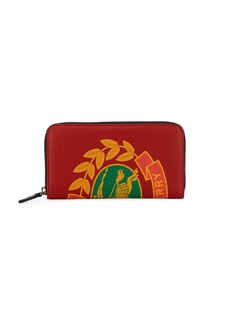 Burberry Men's Crest-Print Leather Zip-Around Wallet
