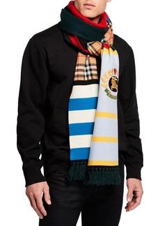 Burberry Men's Football Crest-Applique Scarf