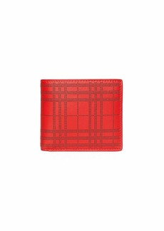 Burberry Men's Perforated Check Bi-Fold Leather Wallet