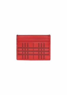 Burberry Men's Sandon Perforated Check Card Case  Red