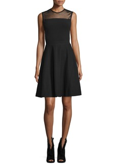 Burberry Mesh-Yoke Fit-&-Flare Dress