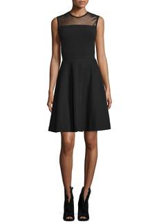 Burberry Mesh-Yoke Fit-&-Flare Dress  Black