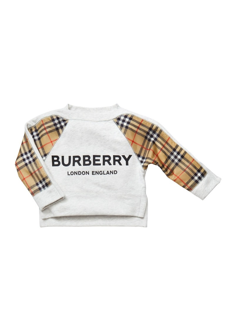 Burberry Mini Esther Check-Trim Sweatshirt  Size 3-14