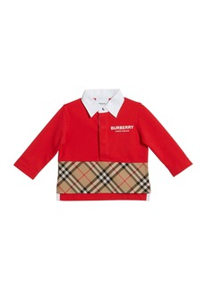 Burberry Mini Quentin Check-Panel Rugby Polo Shirt  Size 6M-2