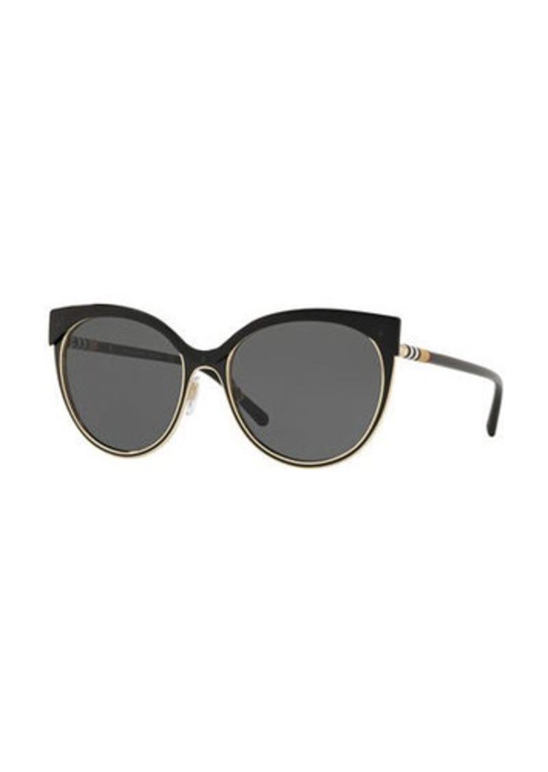 c146db923596 Burberry Mirrored Cat-Eye Metal Sunglasses   Sunglasses