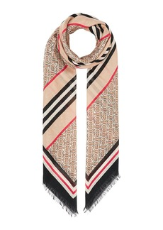 Burberry Monogram Icon Stripe Gauze Square Scarf