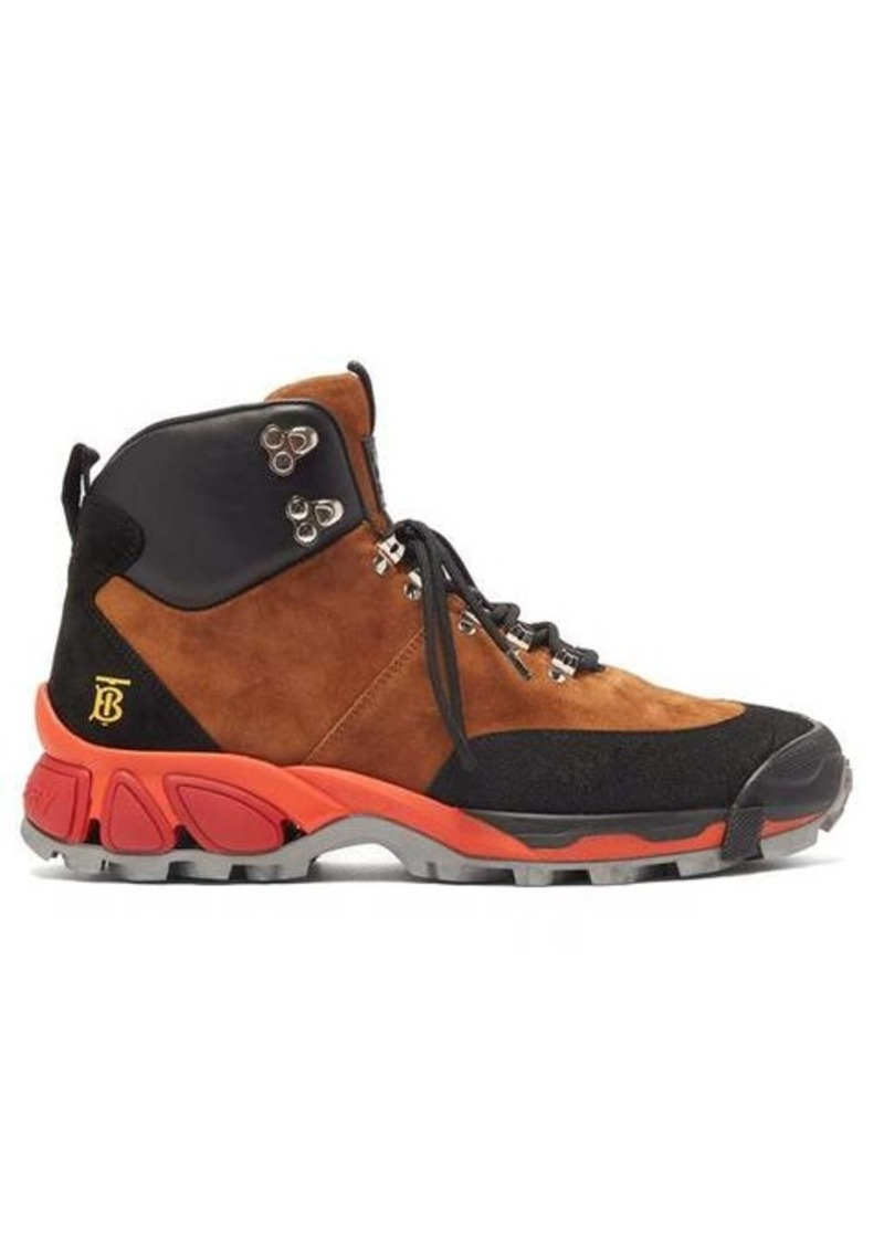 Burberry Monogram-logo suede hiking boots